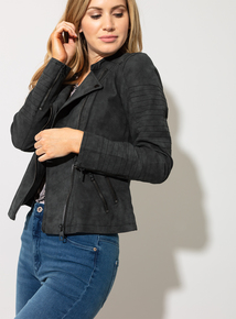 ba67ab93c9952 ONLY Charcoal Grey Faux Leather Biker Jacket