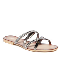 Pewter Cross Strap Diamanté Mule Sandals