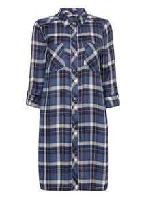 Blue Longline Check Shirt