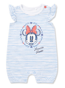 White Stripe Minnie Mouse Romper (0-24 months)