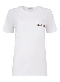 White Embellished Pocket T-Shirt
