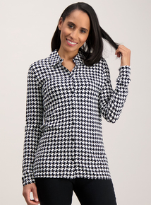 Monochrome Dogtooth Print Shirt