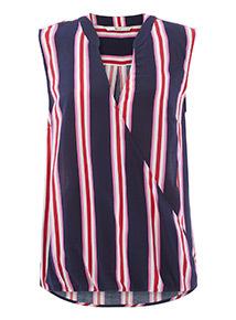 Stripe Print Sleeveless Blouse