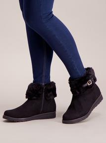 Sole Comfort Black Faux Fur Ankle Boots