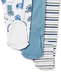3 Pack Blue Dinosaur Sleepsuits (Newborn-24 months)