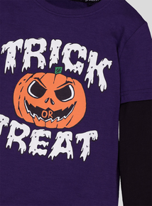 Halloween Purple Trick Or Treat Long Sleeve T-Shirt (3-14 years)