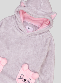 Grey & Pink Super Soft Cat Jumper With A Hood (4-13 Years)