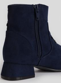 Navy Blue Star Embellished Heeled Ankle Boots (10-4)