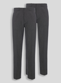 Boys Grey Longer Leg Trousers 2 Pack (10-16 years)