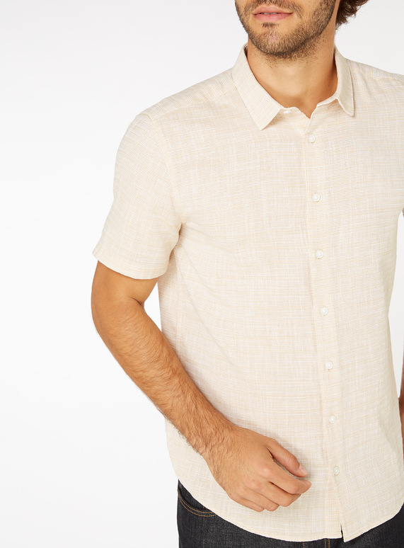 Ochre Textured Regular Fit Shirt