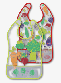 Multicoloured Vegetable Print Bibs 2 Pack (One Size)
