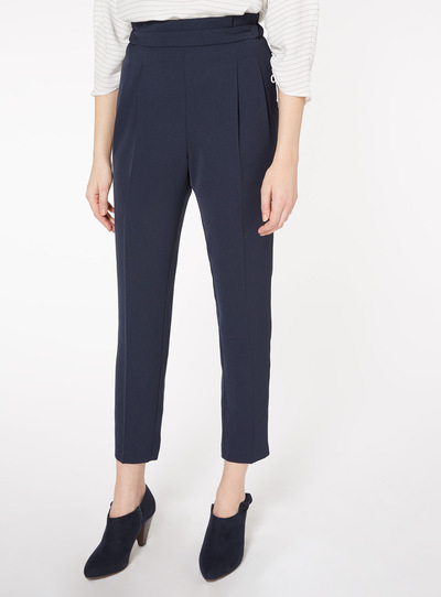 Navy Peg Leg Trousers