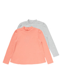 2 Pack Multicoloured Ribbed Long Sleeved Tops (9 months-6 years)