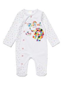 White Elmer Sleepsuit (Newborn-24 months)