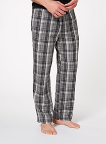 Grey Check Drawstring Lounge Trousers