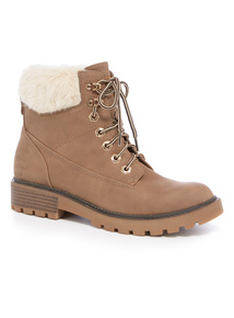 Faux Fur Collar Hiker Boot