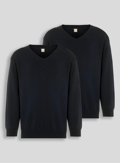 Black V-Neck Jumpers 2 Pack (3-16 years)
