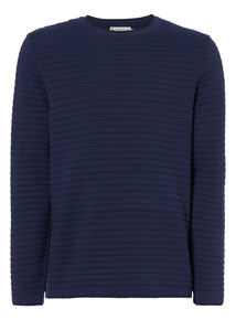 Navy Striped Texture Jumper