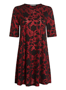 Floral Jacquard Swing Dress