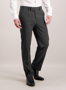 Charcoal Tailored Fit Textured Suit Trousers