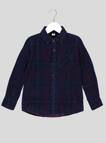 Navy Blue Cord Check Shirt (3-14 Years)