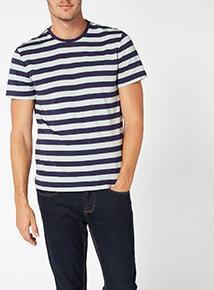 Navy Striped Cotton Tee