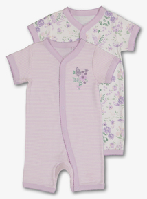 610aa52f742 Lilac & White Floral Stripe Rompers 2 Pack (Newborn-24 Months)