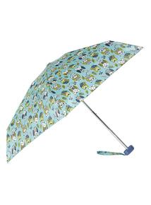 Green Owl Print Mini Umbrella