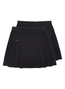 Girls Navy Jersey Skirts 2 Pack (2 - 12 years)