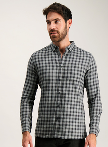 Grey Check Regular Fit Shirt