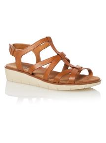 Tan Leather Gladiator Sandals