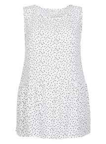 White Dotty Peplum Shell Top