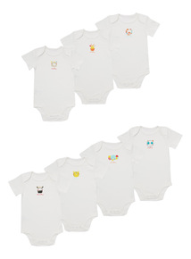 White Animal Bodysuits 7 Pack (0 - 24 months)