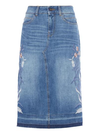 Mid Denim Embroidered Skirt