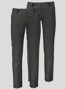 Online Exclusive Grey Longer Leg Trousers 2 Pack (10-16 years)