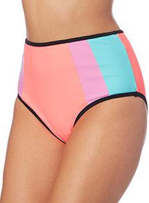 Colour Block High Waist Bikini Brief