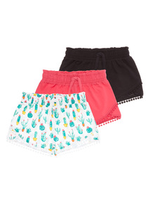 Girls Cactus Shorts 3 Pack (3 - 12 years)