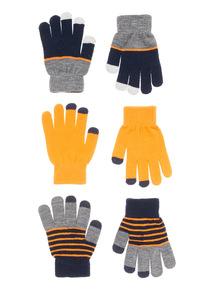 Orange Three Pack Magic Touch Gloves