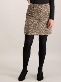 Brown Animal Print Mini Skirt