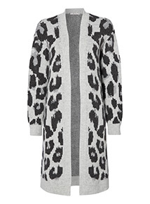Grey Animal Longline Cardigan