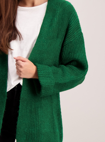 Emerald Green Cardigan With Turn Back Cuffs