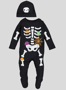 Halloween Skeleton All in One & Hat Set (0-24 months)