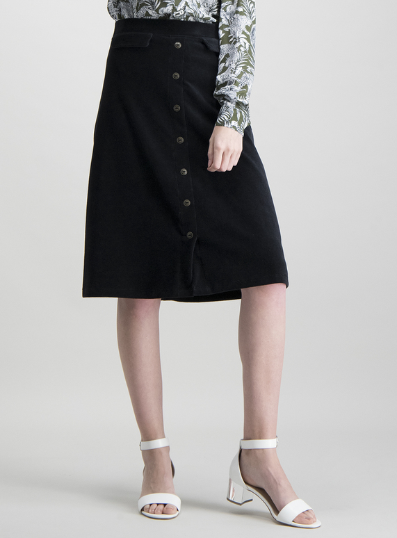 luxury aesthetic lowest discount hot-selling official SKU: GOLDEN HUES JERSEY BUTTON THRU CORD FULL SKIRT:Black