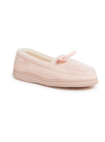 Pink Textured Bow Slippers