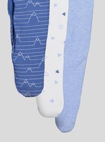 Blue Geometric Long Sleeve Sleepsuits 3 Pack (Newborn-24 months)