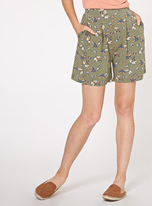 Brown Butterfly Culotte Shorts