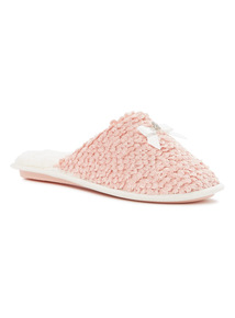 Boucle Knitted Mule Slippers