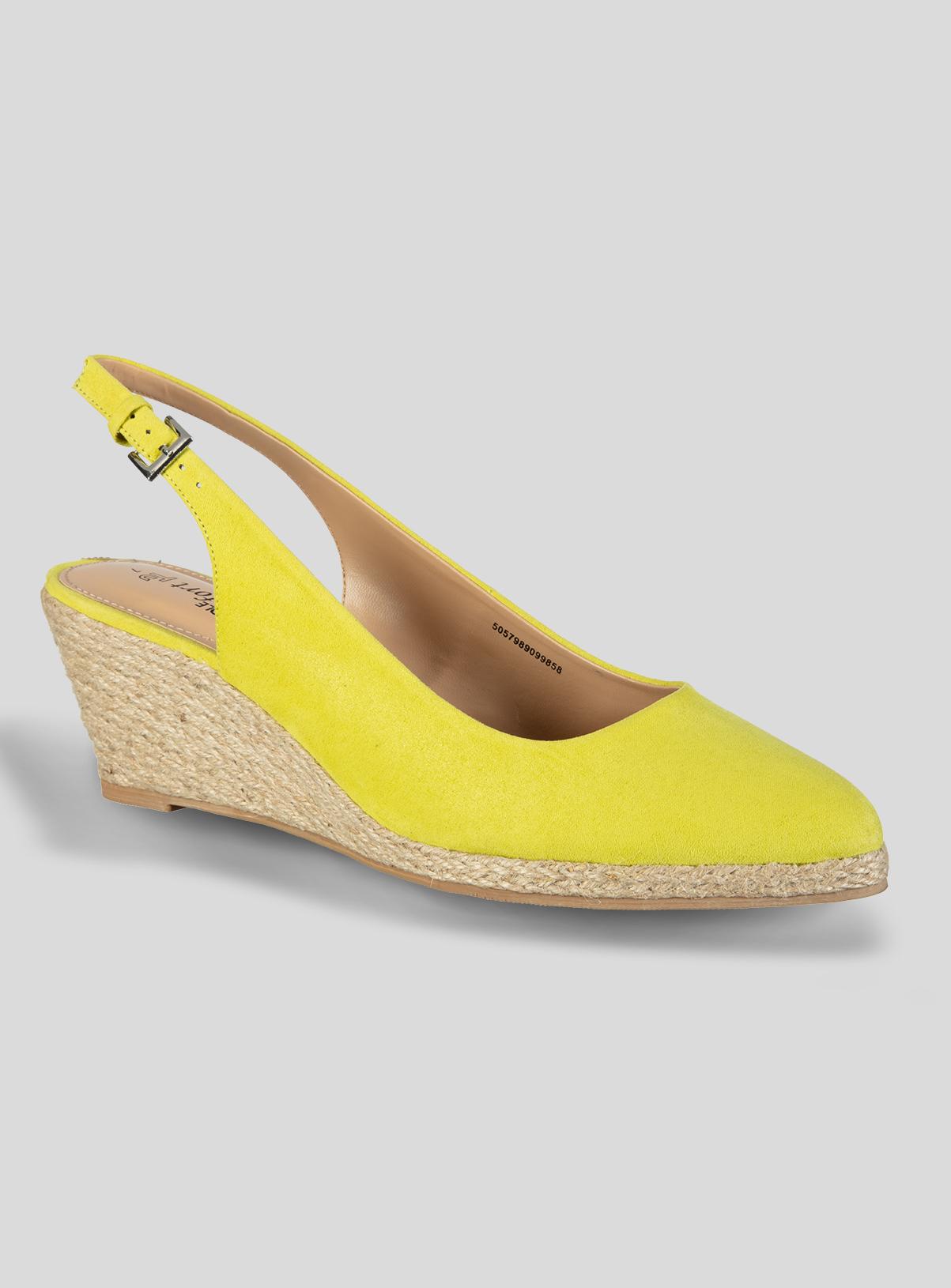 Women's Lime Green Raffia Sling Back Wedge Shoes