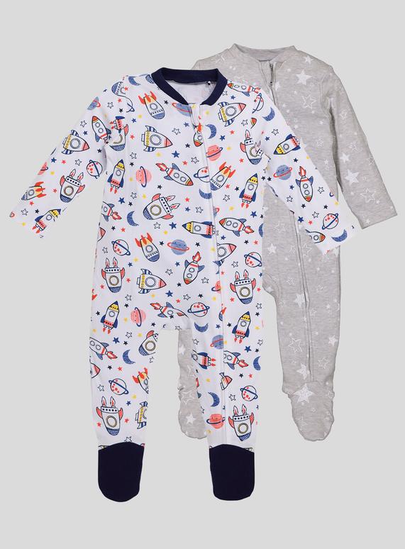 9ad76b9fc Baby Spaceship Long Sleeve Sleepsuits 2 Pack (Newborn- 24 months ...