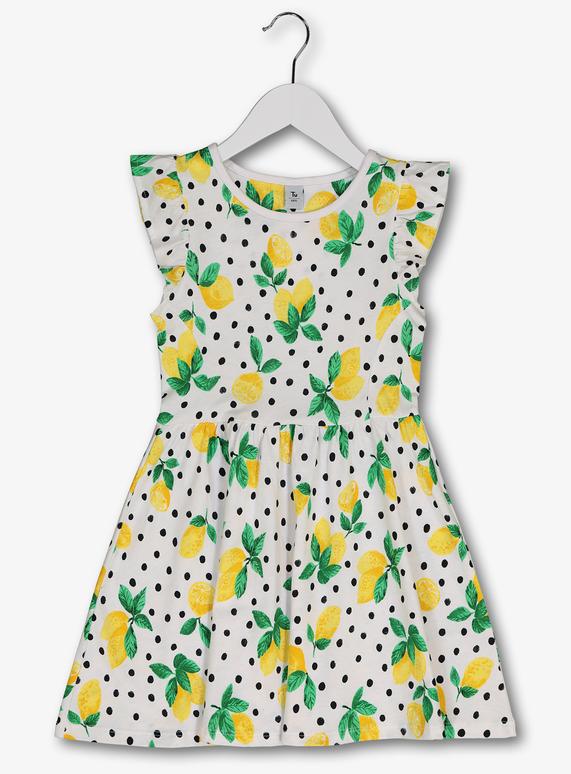 3c2626217 Kids White   Lemon Print Frill Sleeve Jersey Dress (3-14 years)